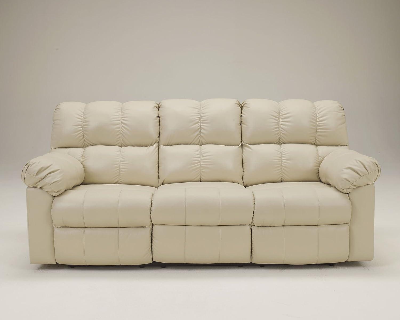Ashley Kennard Leather Reclining Sofa in Cream