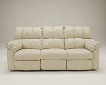 Ashley Kennard Leather Reclining Sofa in Cream
