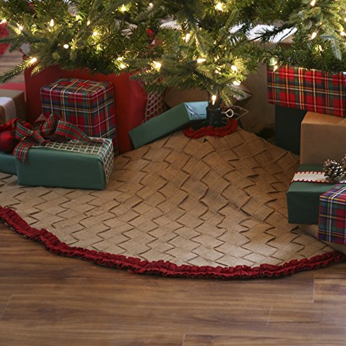 48 in burlap braided tree skirt with red ruffle trim home for Trim a home outdoor decorations