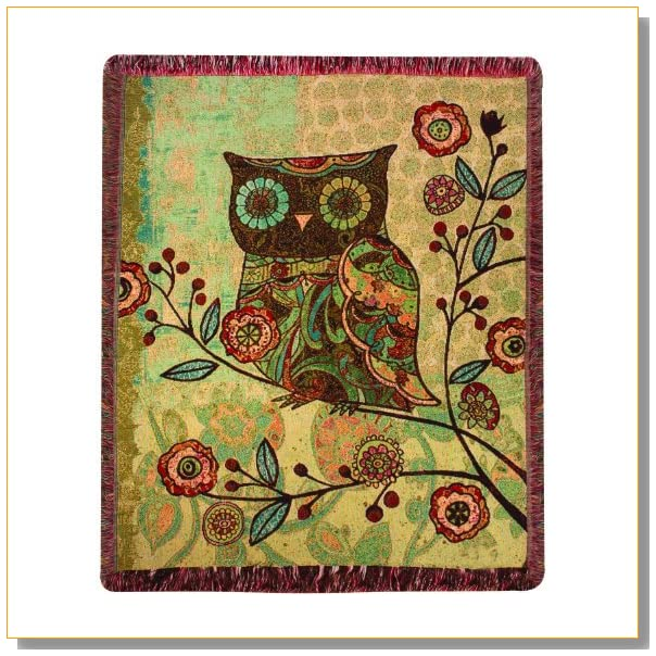 Manual Woodworkers and Weavers Milo Collection Owls Tapestry Throw, 50 by 60-Inch