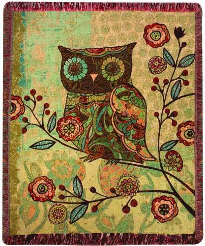 Manual Milo Collection Owls 50 X 60-Inch Tapestry Throw