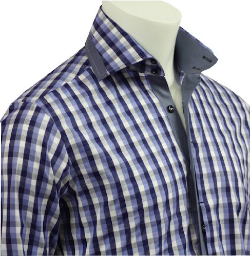 Men's Formal & Casual Italian Design Shirts Navy Check Slim Fit S-4XL