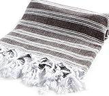 "Cacala Light Pestemal Turkish Towel for Bath/Hamam/Unisex, 37 x 70"", Black"