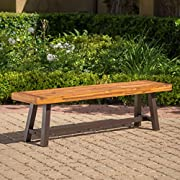 GDF Studio 300496 Colonial Outdoor Sandblack Finish Acacia Wood and Rustic Metal Bench, brown