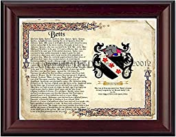 Betts Coat of Arms/ Family History 11'' x 13 '' Wood Framed on Fine Paper
