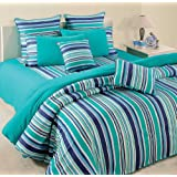Swayam Linea Stripes Cotton Bedsheet With 2 Pillow Covers - King Size, Turquoise Stripes