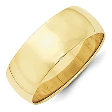 10k Yellow Gold 8mm Ltw Half Round Band Size O 1/2 Ring - Higher Gold Grade Than 9ct Gold