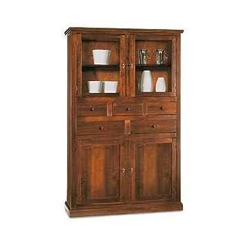 Mobile dispensa, stile classico, in legno massello e mdf con rifinitura in noce lucido - Mis. 120 x 41 x 187