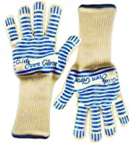 Gulife GP-SG2-2L Grill Gloves, Extra-long cuff, 5-fingers Flexi silicone Grip, Withstands Heat up to 662F, 2 gloves