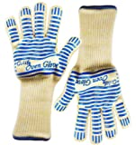 [#1 Grill Gloves Extra-long cuff] Gulife®; oven glove withstands heat up to 662F- elaborate Top Class BBQ glove, 5-fingers Flexi silicone grip - Blue Stripes for Ultimate Grip - Versatile than Oven Mitt & Pot Holders - Best for Oven, Fireplace, Barbecue, Baking, Microwaving, Camping... 100% Satisfaction Guaranteed! - Gift box packaging(2 gloves included)