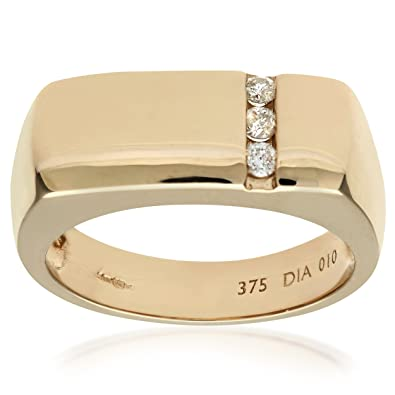 Naava 9ct Yellow Gold Mens Diamond Ring