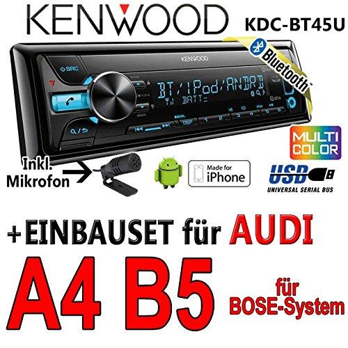 Audi a4 b5 bose kenwood kDC-bT45U-bluetooth cD/mP3/uSB avec kit de montage