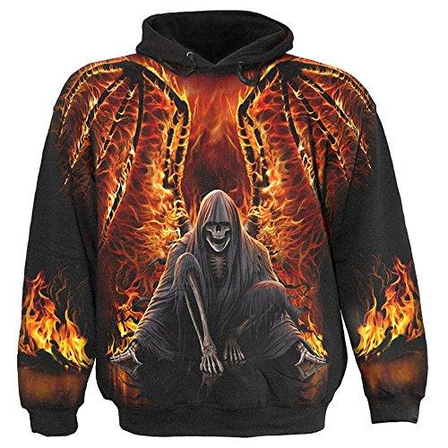 Spiral-Felpa con cappuccio personificata con fiamme-Flaming Death Felpa con cappuccio nero XXL