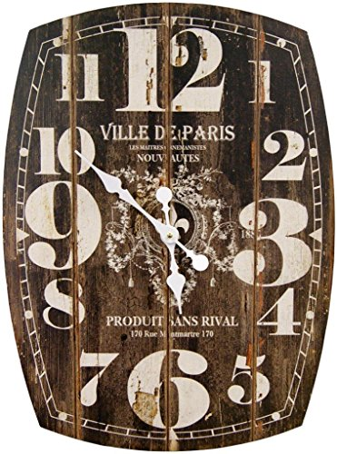 Oblong Black Decorative Wall Clock With Over Sized Numbers And Distressed Face Paris 20 x 27 inches Quartz movement 0