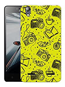 "Humor Gang Cameras In Yellow Printed Designer Mobile Back Cover For ""Lenovo A6000 - A6000 PLUS"" (3D, Matte, Premium Quality Snap On Case)"