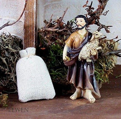 Gefüllte Sack aus Jutestoff, Höhe ca. 5 cm. Weihnachtskrippe. W432.