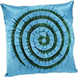 Shahenaz Home Shop Tusti Circle Flare Poly Dupion Cushion Cover - Turquoise
