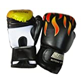 Kagogo Boxing Gloves Muay Thai Training Maya Hide Leather Sparring Punching Bag Mitts kickboxing Fighting UFC (Black) (Color: Black, Tamaño: One Size Fit Most)