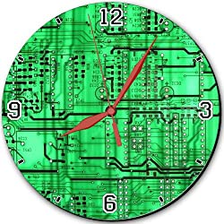 Electronics Green Circuit Boards Pattern 10 Quartz Plastic Wall Round Clock Classic Analog Setting Customized Inch Hand Needle MSD Made to Order Support Ready Dial Time Personalized Gift Battery Operated Accessories Graphic Designed Model HD Template
