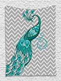"""Peacock on Gray Chevron Tapestry Wall Hanging Art Prints Wildlife 40""""wx60""""l - Living Room / Bedroom / Dorm Decor - One of a Kind - Machine Washable - Shiny Silky Saten"""