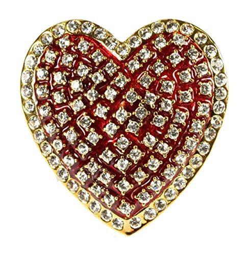 "Rhinestone Crystal Heart Brooch Red Enamel Jewelry 1.50"" By 1.50"" Prong Set Fine Costume Jewelry"