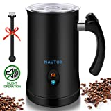 Milk Frother, Nautor Electric Milk Frother with Hot or Cold Functionality, Foam Maker, Black Stainless Steel, Automatic Milk Frother and Warmer for Coffee, Cappuccino and Macchiato (Color: Black)