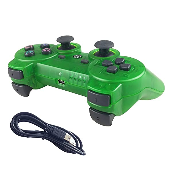 Nesada Wireless Bluetooth Controller For PS3 Double Shock (Clear Green) (Color: Clear Green)