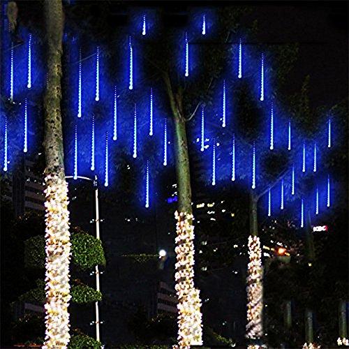 NuteDawn 50cm 10 Tubo 540 LED Colore Bianco Meteor Doccia Pioggia Luci Impermeabili Della Corda per Festa di Nozze Decorazione Dell'albero di Natale (Blu-50CM)