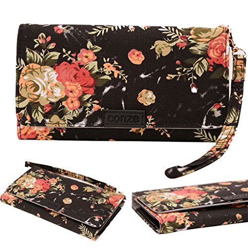 Conze Fashion Cell Phone Carrying piccola croce borsa con tracolla per Samsung Galaxy Ace 3/4/II X/NXT/stile Black + Flower