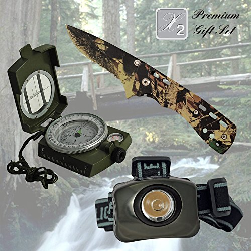 X2 Premium Gift Set for Christmas for Hoiday for Dad Father Brother Friend Gift for Grandpa Gift for Papa Gift for Outdoorsman Hiker Camper Best Gift Combination with Knife Headlamp Compass Gift Set