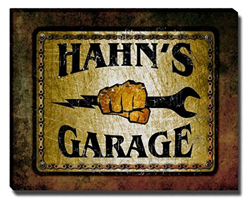 hahns-garage-stretched-canvas-print