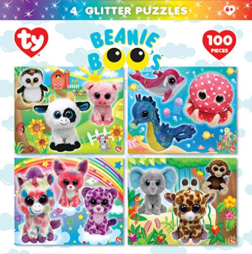 MasterPieces Beanie Boo 100 Piece Glitter Puzzle (4 Pack)