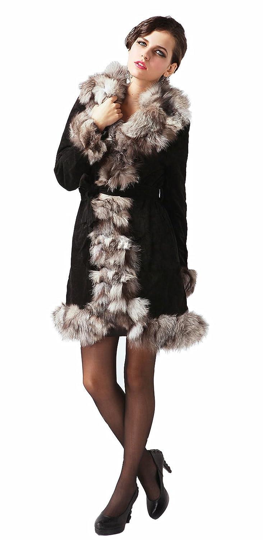 queenshiny Damen 100% Echte Schweine Leder Mantel Jacken mit Silber Fuchs Pelz Kragen Winter Mode bestellen