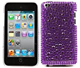 ITALKonline FunkGem PURPLE DOTS Diamonte Crystals Super Hydro Gel Protective Armour/Case/Skin/Cover/Shell for Apple iPod Touch 4 4G (4th Generation) 8GB, 32GB, 64GB
