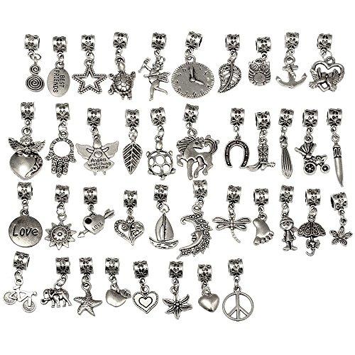 rubyca-40pcs-tibetan-silver-color-connector-bails-mix-beads-with-pendant-fit-charm-bracelet-201