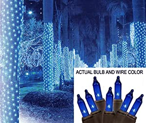 Sienna 2' x 8' Blue Mini Christmas Net Style Tree Trunk Wrap Lights - Brown Wire