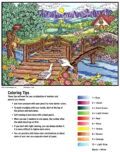 Color By Number Poster Set - Bridge - Includes 12 Coloring Pencils