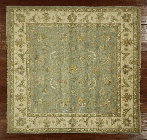 New Floral Peshawar Oriental Rug 6' Square Hand Knotted Green Wool Rug H3835 front-164071