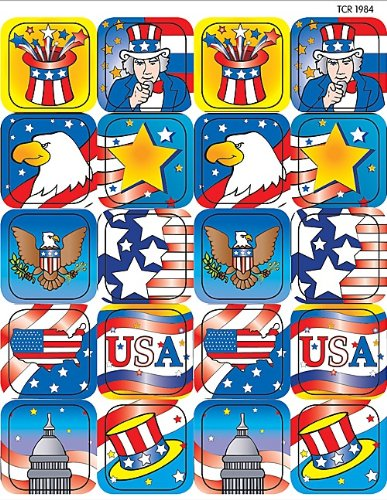 Teacher Created Resources Patriotic II Stickers, Multi Color (1984),120 per pack