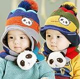 594-ボンボン付き 帽子&マフラー セット 耳も首もふんわりあったか ベビー キッズ ニット帽 おしゃれ 子供 流行かわいい キャップ プレゼント ギフト 誕生日 出産祝い 記念写真の衣装にベビー 防寒グッズ 一枚入れ 並行輸入品