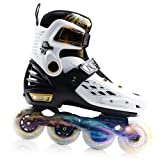 YF YOUFU Adjustable Inline Skates for Boys/Girls/Kids and Adults, Roller Skate with Triple Protection, Front Foot Shield, Hard and Strong PU Wheels, Light-up Wheel on Front for Men, Women (Color: White&Gold, Tamaño: Large - Youth/Adult (5-8 US))