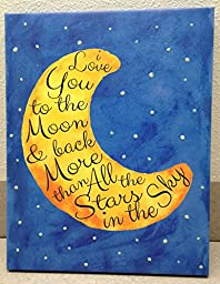 Adorable \'I Love you to the Moon and Back\' with Glow in the Dark Stars; Children\'s Room Decor; One 11x14 Hand-Stretched Canvas