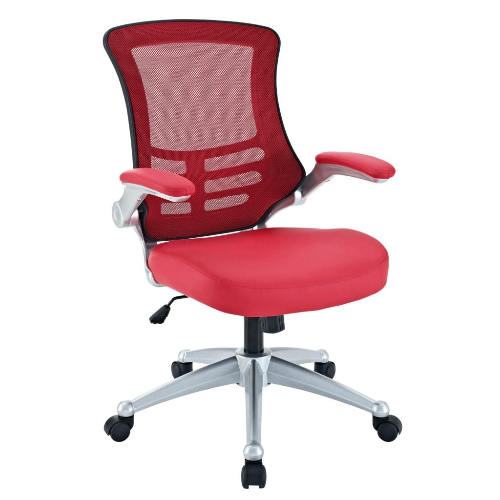 LexMod Attainment Office Chair With Red Mesh Back And Leatherette