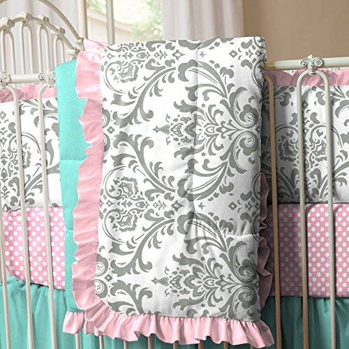 Pink And Teal Baby Bedding 9225 front