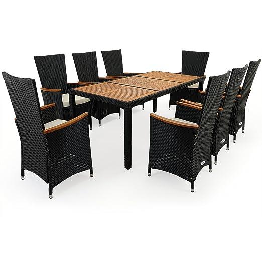 PolyRattan Sitzgruppe 8+1 Stapelbare Stuhle mit Armlehnen aus Akazienholz + Tisch aus Akazienholz Gartenmöbel Gartenset Sitzgarnitur