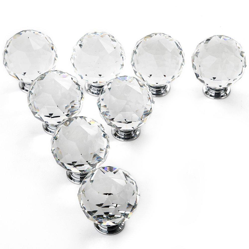 Gimbal® 8*40MM Kristall Glas Möbelgriffe sphärisch Möbelknauf transparent Möbelknopf Schrauben Möbelgriffe Set Schrankgriff Neu