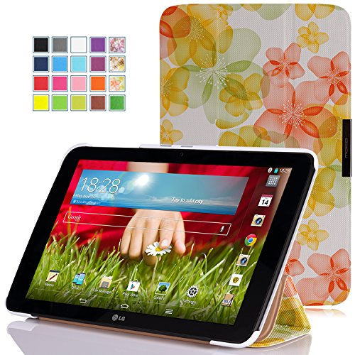 MoKo LG G Pad 10.1 Case - Ultra Slim Lightweight Smart-shell Stand Case for LG G Pad 10.1 inch Android Tablet, Floral GREEN