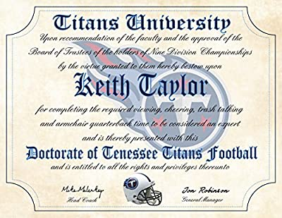 "Tennessee Titans Ultimate Fan Personalized Diploma - Perfect Gift - 8.5"" x 11"" Parchment Paper"