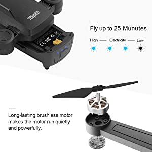 Black TOPE GPS FPV RC Drones with 1080P FHD Camera Live Video 150/° Wide-Angle 5Ghz WiFi Quadcopter for Beginners Kids Adults with Follow Me,Brushless Motor,GPS Return Home and Foldable Arms