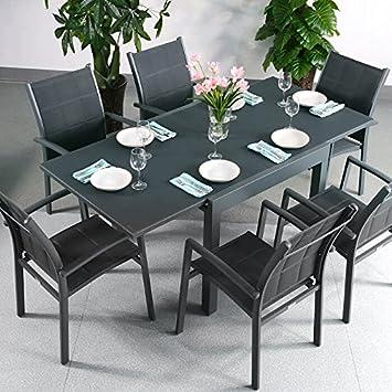 Chloe Tisch & 6 Stuhle - GRAU | Gartenmöbel-Set mit ausziehbarem 180cm Tisch